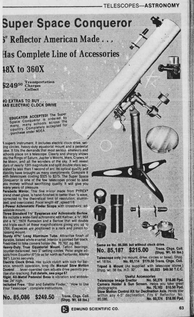 a selection of telescope advertisements from yesteryear